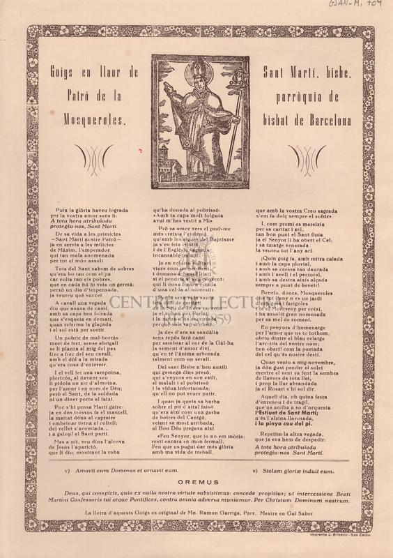 Goigs en llaor de Sant Martí, bisbe. Patró de la parròquia de Mosqueroles, bisbat de Barcelona
