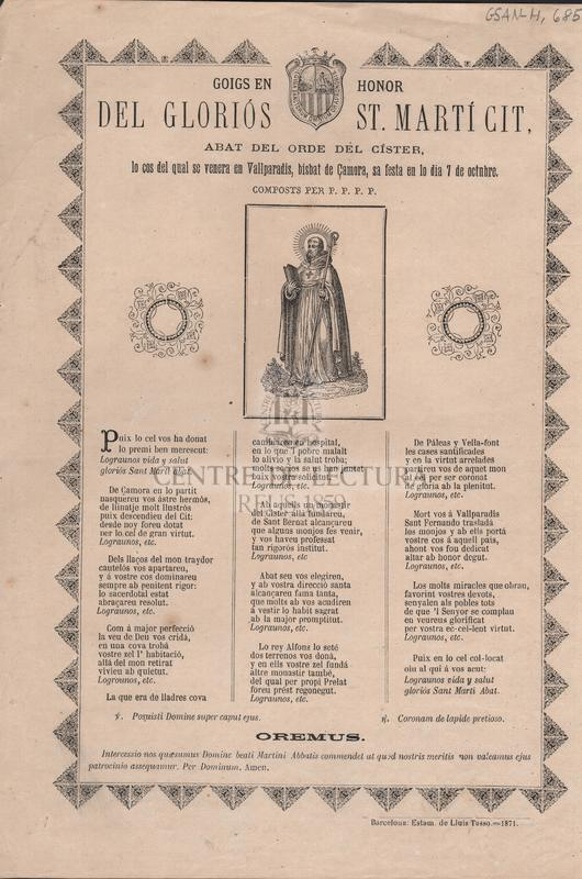 Goigs en honor del gloriós St Martí Cit, Abat del orde del Císter, lo cos del qual se venera en Vallparadí, bisbat de Çamora, sa festa en lo dia 7 de octubre