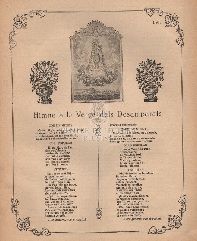 Colección de Gozos en honor de la Santísima Virgen de los Desamparados patrona de Valencia : cuaderno sexto