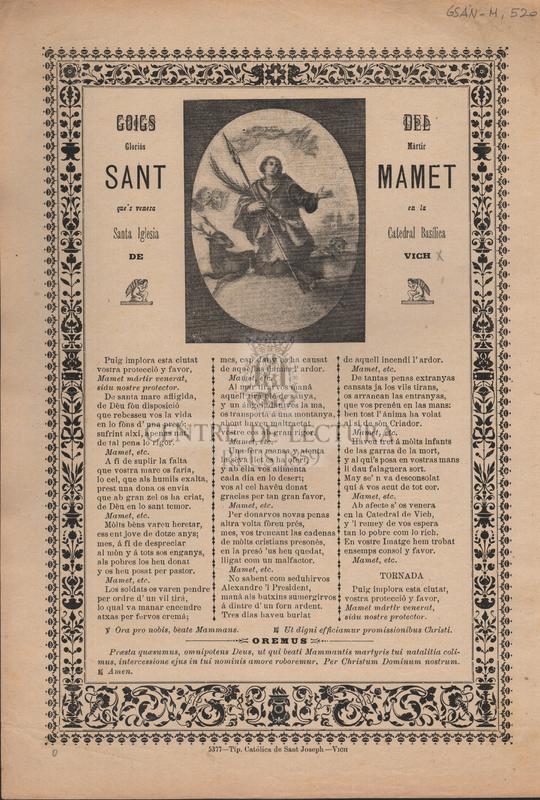 Goigs del gloriós mártir Sant Mamet que's venera en la Santa Iglesia Catedral Basílica de Vich