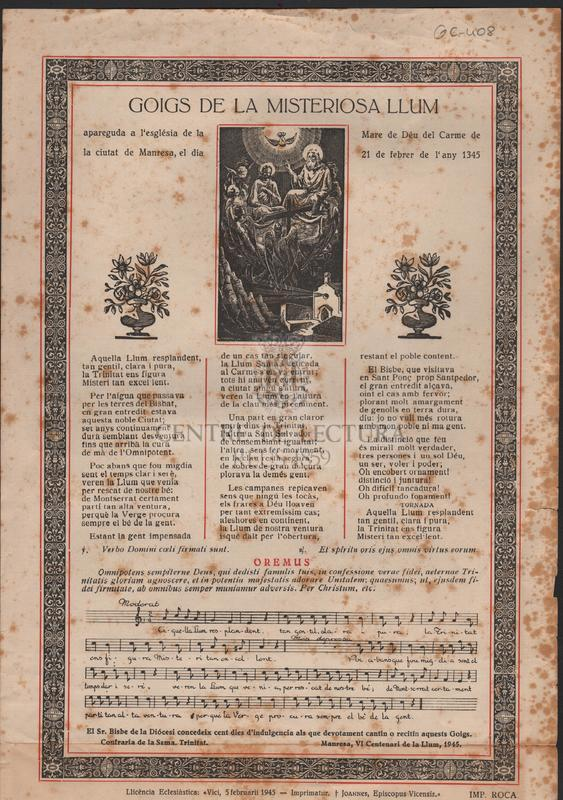 Goigs de la misteriosa llum apareguda a l'església de la Mare de Déu del Carme de la ciutat de Manresa, el dia 21 e febrer de l'any 1345