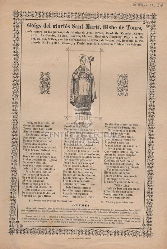 Goigs del gloriós Sant Martí, Bisbe de Tours que's venera en las parroquials iglesias de Aviá, Broá, Cambrils, Capolat, Correá, Joval, La-Corriu...
