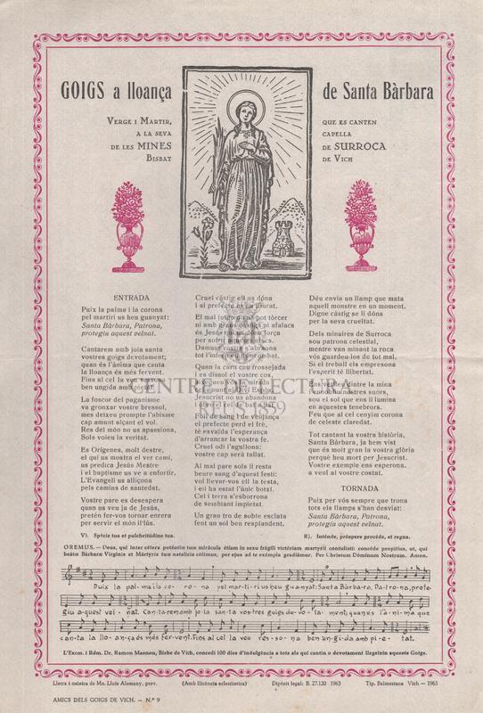 Goigs a lloança de Santa Bàrbara Verge i Màrtir, que es canten a la seva capella de les Mines de Surroca, Bisbat de Vich