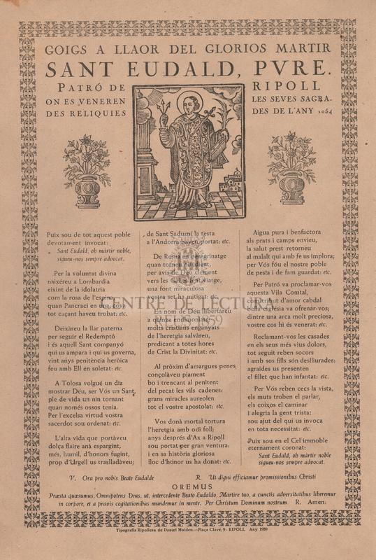 Goigs a llaor del glorios martir Sant Eudald presvitere, patro de la vila de Ripoll on es veneren les seves sagrades reliquies des de l'any 978