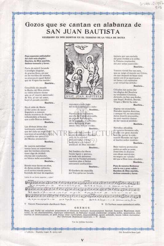Gozos que se cantan en alabanza de San Juan Bautista venerado en dos ermitas en el termino de la villa de Batea