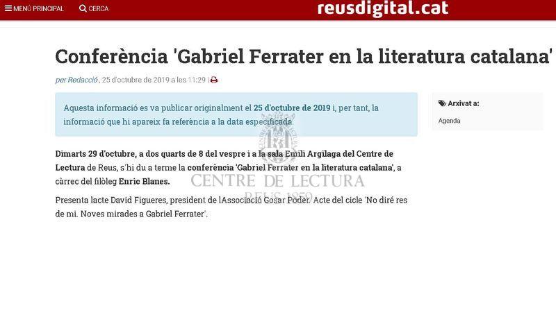 Conferència 'Gabriel Ferrater en la literatura catalana'
