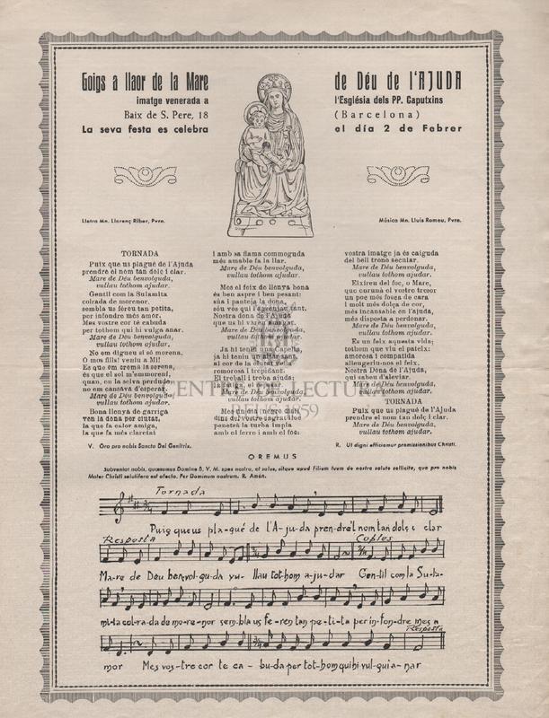 Goigs a llaor de la Mare de Déu de l'Ajuda imatge venerada a l'Església dels PP. Caputxins Baix de S. Pere, 18 (Barcelona).