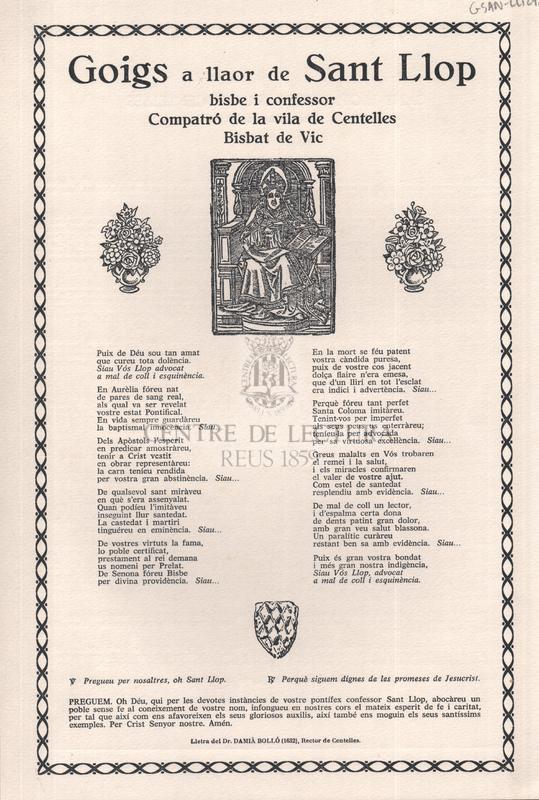 Goigs a llaor de Sant Llop bisbe i confessor, Compatró de la vila de Centelles, Bisbat de Vic