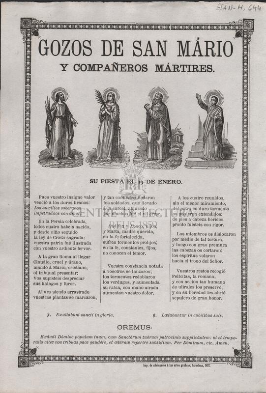 Gozos de San Mario y compañeros mártires. Su fiesta el 19 de Enero