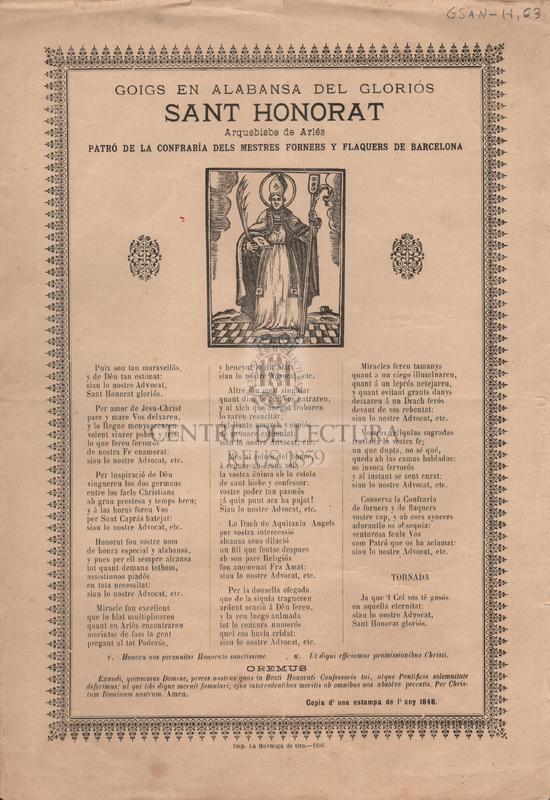 Goigs en alabansa del gloriós Sant Honorat, Arquebisbe de Arlés, patró de la confraría dels mestres forners y flaquers de Barcelona