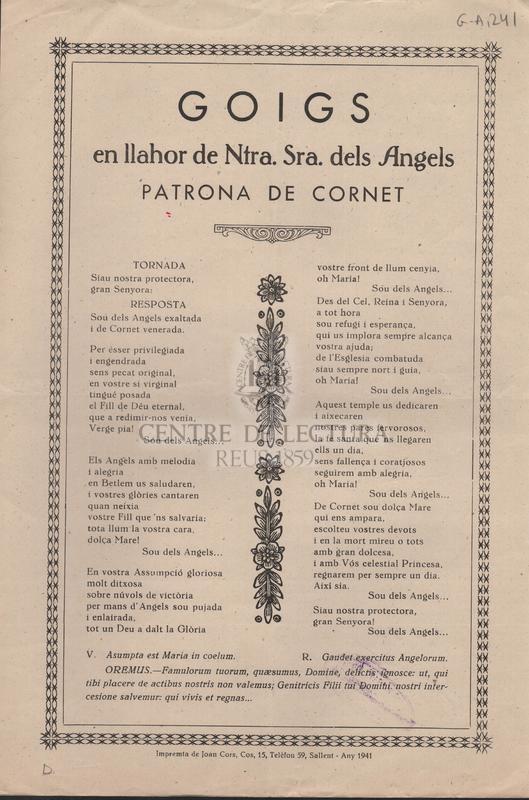 Goigs en llahor de Ntra. Sra. dels Angels patrona de Cornet