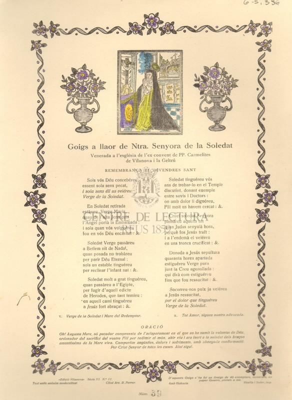 Goigs a llaor de Ntra. Senyora de la Soledat venerada a l'esglesia de l'ex convent de PP, carmelites de Vilanova i la Geltrú