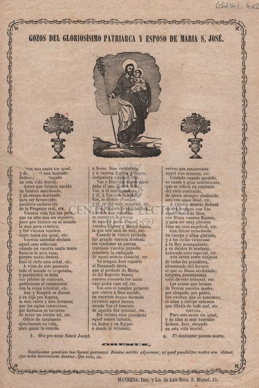 Gozos del gloriosisimo Patriarca y esposo de Maria, S. José