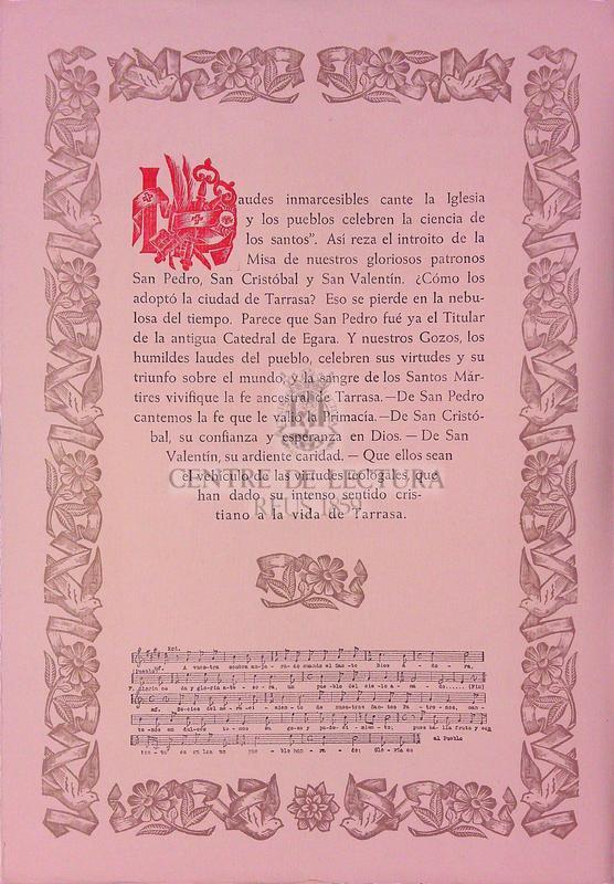 Goigs a los Bienaventurados mártires San Pedro, San Cristóbal y San Valenti patronos de la ciudad de Tarrasa