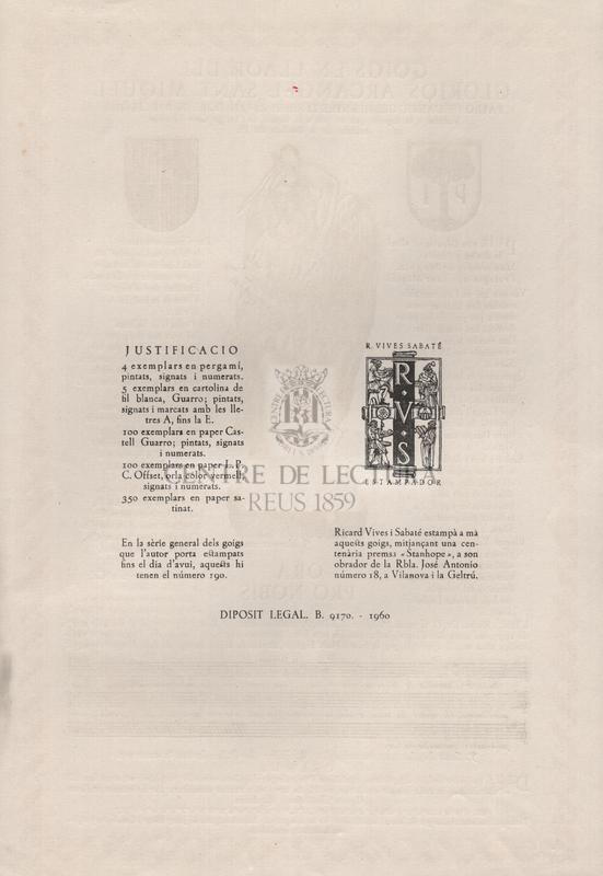 Goigs en llaor del glorios arcangel Sant Miquel patro de l'antic gremi entre tenders-revenedors de Barcelona. Venerat a la capella que es veu a la façana de l'antiga Casa Gremial enfront de la Basílica del Pi