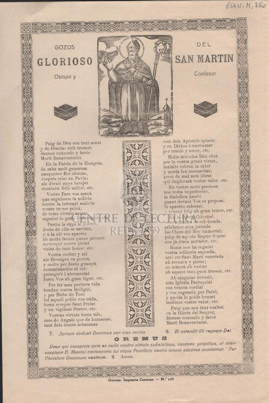 Gozos del glorioso San Martin. Obispo y confesor