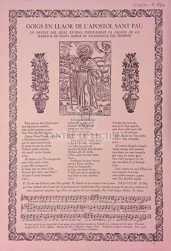 Goigs en llaor de l'Apòstol sant Pau la imatge del qual exorna pietosament la façana de la Basilica de Santa Maria de Vilafranca del Penedès