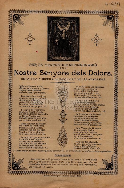 Per la venerable congregació de Nostra Senyora dels Dolors, de la vila y ribera de Sant Joan de las Abadessas.
