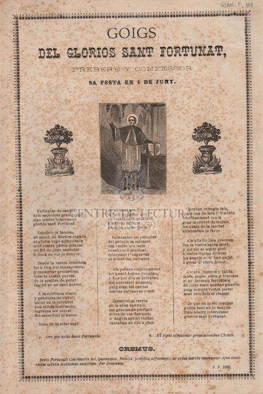Goigs del glorios Sant Fortunat, prebere y confessor. Sa festa en 1 de juny
