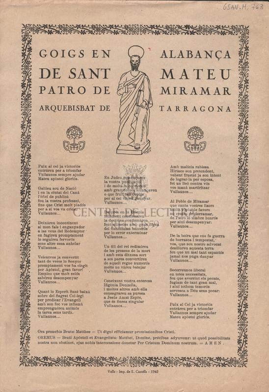 Goigs en alabança de Sant Mateu. Patro de Miramar. Arquebisbat de Tarragona
