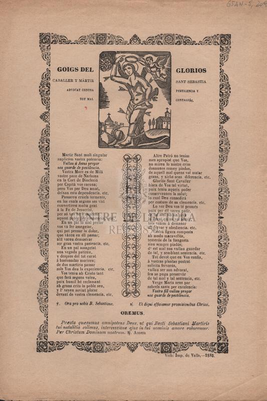 Goigs del glorios caballer y mártir San Sebastia, advocat contra pestilencia y tot mal contagiós