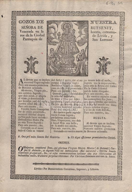 Gozos de Nuestra Seóra de Butsenit, venerada en la huerta, extramuros de la Ciudad de Lérida, y Parroquia de San Lorenzo