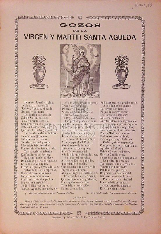 Gozos de la virgen y martir Santa Agueda