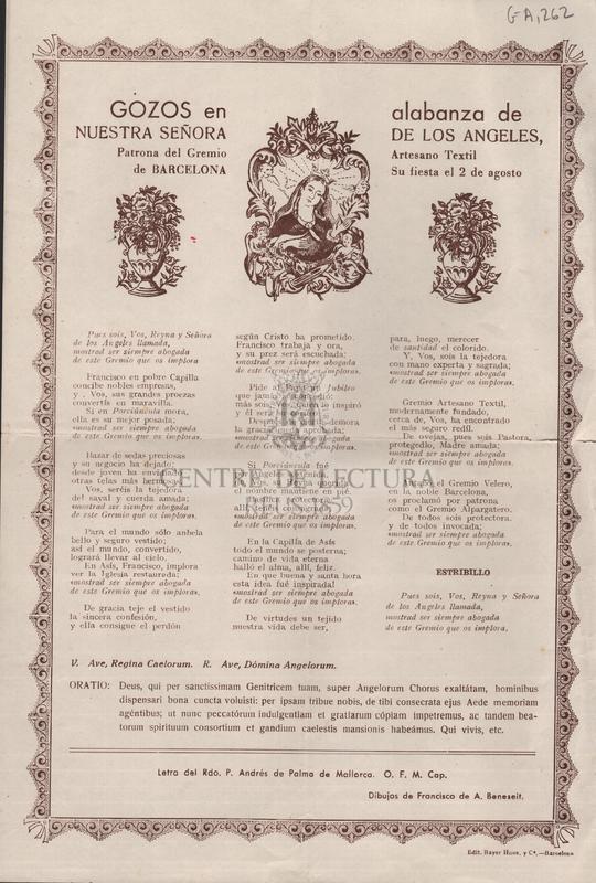 Gozos en alabanza de Nuestra Señora de los Ángeles Patrona del Gremio Artesano Textil de Barcelona Su fiesta el 2 de agosto