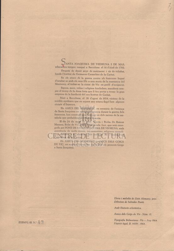 Goigs a lloança de Sta. Joaquima de Vedruna, cantats a la Font de Santa Joaquima al pla de la calma del Montseny.