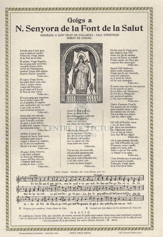 Goigs a N. Senyora de la Font de la Salut venerada a Sant Feliu de Pallarols, Vall d'Hostòles, Bisbat de Girona