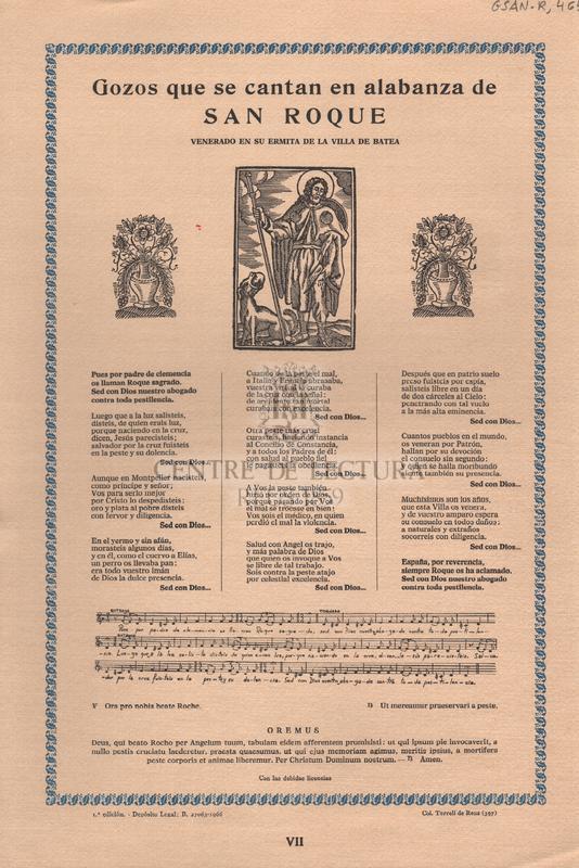 Gozos que se cantan en alabanza de San Roque. Venerado en su ermita de la villa de Batea