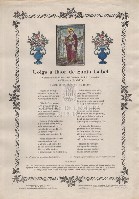 Goigs a llaor de Santa Isabel, Venerada a la capella del Convent de PP. Caputxins de Vilanova i la Geltrú, onomàstica el dia 8 de juliol