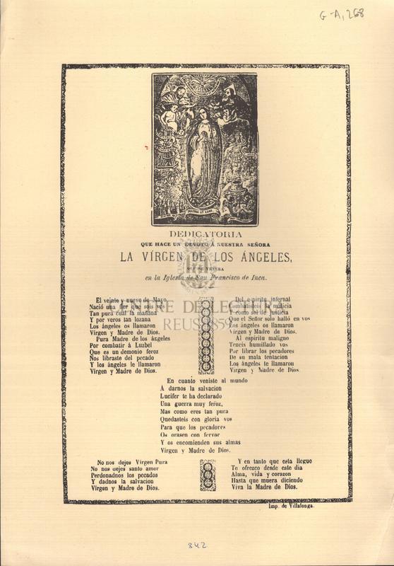 Dedicatoria que hace un devoto á Nuestra Señora la Vírgen de los Ángeles que se venera en la Iglesia de San Francisco de Inca