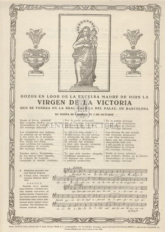 Gozos en loor de la Excelsa Madre de Dios de la Virgen de la Victoria que se venera en la Real Capilla del Palau, de Barcelona su fiesta se celebra el 7 de octubre