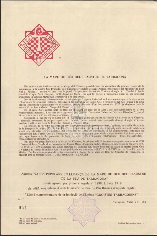 Goigs populars en lloança de la Mare de Deu del Claustre de la Seu de Tarragona.