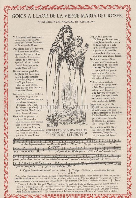 Goigs a llaor de la Verge Maria del Roser venerada a les Rambles de Barcelona
