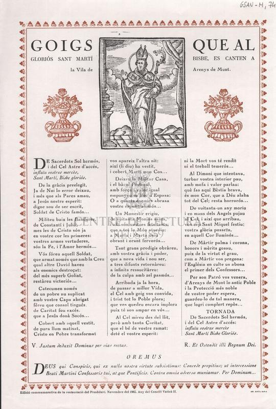 Goigs que al gloriós Sant Martí Bisbe, es canten a la Vila de Arenys de Munt