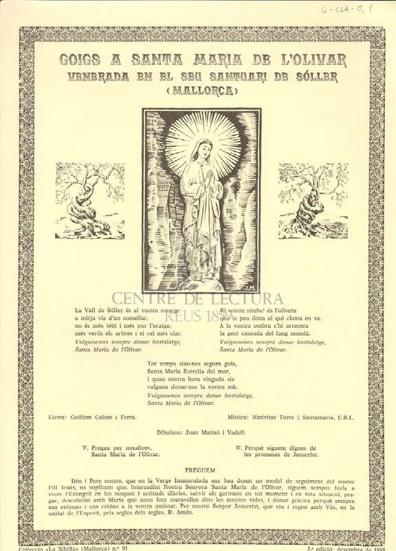 Goigs a Santa Maria de l'Olivar venerada en el seu santuari de Sóller (Mallorca)