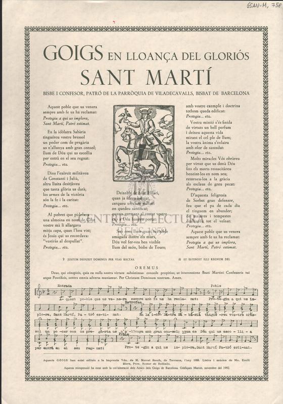 Goigs en lloança del gloriós Sant Martí. Bisbe i confesor, patró de la parròquia de Viladecavalls, bisbat de Barcelona