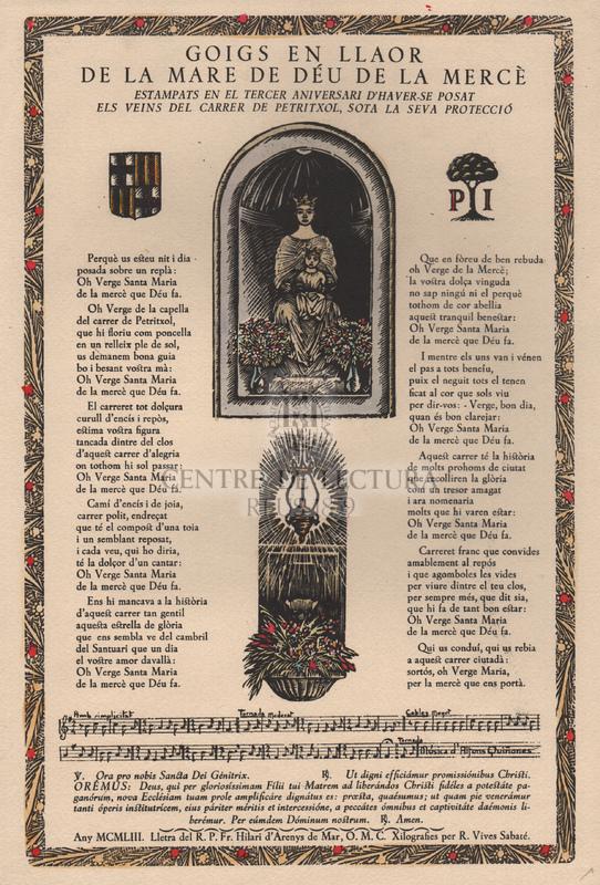 Goigs a llaor de la Mare de Déu de la Mercè estampats en el tercer aniversari d'haver-se posat als veins del carrer del Petritxol, sota la teva protecció.