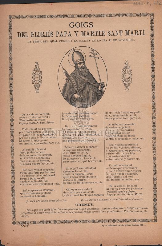 Goigs del gloriós Papa y martir Sant Martí. La festa del qual celebra la iglesia en lo dia 12 de Novembre