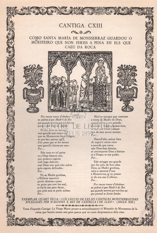 Col·lecció de les sis càntigas montserratines aplegades per n'Alfons X, rei de Castella i Lleó