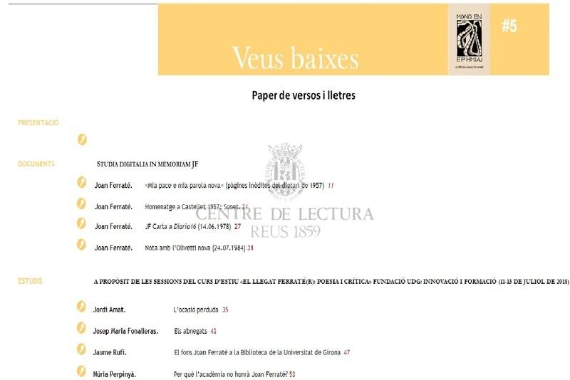 El fons Joan Ferraté a la Biblioteca de la Universitat de Girona